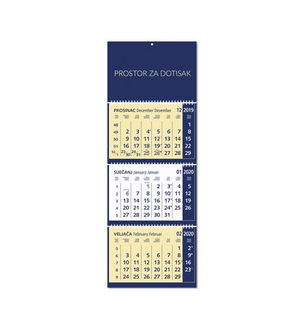 Trodjelni kalendari sa mogučnošću dotiska